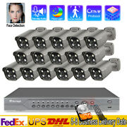 16 Channel 4k Nvr H.265 Video Audio Security Camera System 5mp Poe Ip Outdoor
