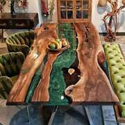 Custom Solid Green Wooden Epoxy Resin Table Top Kitchen Decorative Made To Order