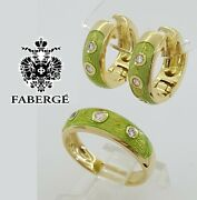 Fabergé Faberge 18k Yellow Gold 0.21 Ct Diamond And Green Enamel Earrings And Ring
