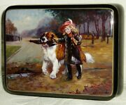 Russian Lacquer Box Fedoskino Girl With St Bernard Dog Miniature Hand Painted