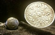 Vintage 925 Mexican Silver Mayan Sundial Medallion Pendant And Matching Ring