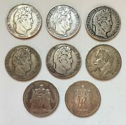 E576 - France Lot Of 8 Silver Coins 1832 - 1875 - 197 G Full Silver