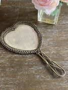 Antique Brass Wire Heart Hand Mirror With Beveled Glass And Ornate Design