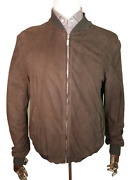 Andpound6150 Brioni New Brown Suede Bomber 46 56 Xxl Jacket Baseball Paisley Italian