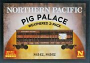 Np N Scale 2 Pack Pig Palace Weathered 40' Stock Cars Micro Trains Line. New.
