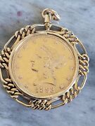 1893-p 10 Liberty Head Ten Dollar Gold Eagle Coin And 14kt Figaro/pendant