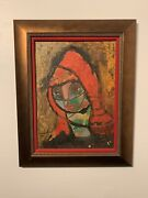 1950s New York Cubism Abstract Mystery Painting