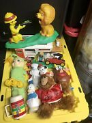 Old Vintage Toys Dolls Lot 1970's 1980's Glo Worm Toy Bank Snoopy Disney Weebles