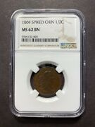 1804 Draped Bust Half Cent Ngc Ms62 Bn Spiked Chin 1/2c Eac Coin