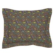 Dinosaur Fossil Rock Science Velociraptor T Rex Rainbow Pillow Sham By Roostery