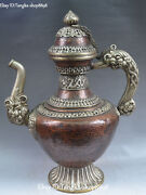 Chinese Old Silver Purple Bronze Dragon Loong Water Wine Tea Pot Flagon Statue