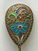 Beautiful Nice Spoon Cloisonne Enamel Silver 84 Russian Imperial Antiques Russia