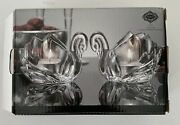 Pair Of Crystal Swan Tea Light Votives Shannon By Godinger Labels And Original Box
