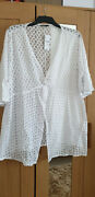 Yours Clothing White Lace Effect Beach Cover Up, Kaftan, Top - Plus Size 26/28