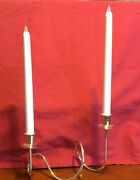 Candle Holder Metal Stand 2 Arm Silver Color