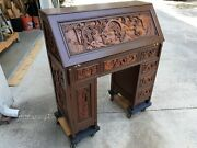 Late 60and039s Hand Carved Asian Secretary Desk