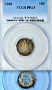1866 Pcgs Pr63 Mintage 8000 + 725 Proof 3rd Lowest 1796-date 10c Seated Dime