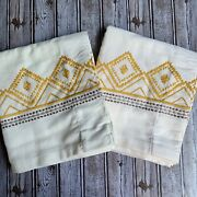 2 Opalhouse Global Border Embroidered Curtain Panels Pair Set White Amber 84andrdquo
