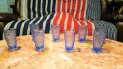 Vintage Indiana Glass Colony Whitehall Cubist Lot Of 8 Glasses Light Blue 6.