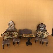 Antique Exquisite Set Of Lithographed Dolls House Furniture Circa 1870german.
