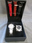 Ecclissi Sterling Silver Womenand039s Mop Face Watch- In Box With 4 Bands And 2 Faces