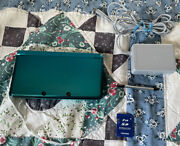 Nintendo 3ds Ctr-001 Aqua Blue Teal With Memory Card And Charger 2gb Works Read