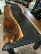 Creative Wooden Black Solid Epoxy Resin Dining Table Top Walnut Furniture Decors