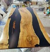 Collectible Wooden Black Epoxy Resin Living Table Walnut Home Furniture Decors
