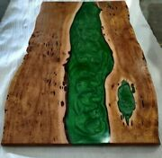 Green Epoxy Wooden Walnut Resin Center, Side Coffee/dining Table Interior Decors