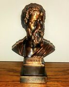Metame Made In Greece Sophocles Bronze Minature Bust 7 Tall 1.5 Pounds Book End