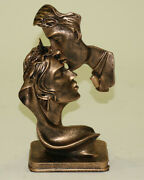 Lovers Kissing Sculpture Male And Female Erotic Statue Bronze Finish Figurine Sale