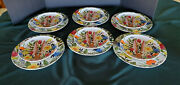 Pier 1 Mod Floral Bunny Dinner And Salad Plates Set Of 6