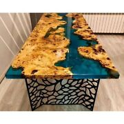 Blue Epoxy Walnut Wooden Dining Table Resin River Table Home Decor Made To Order