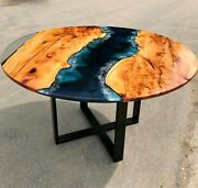 Round Wooden Epoxy Resin River Side Coffee Table Top Collectible Cafeteria Decor