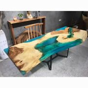 Custom Order Poplar Wooden Blue Epoxy Kitchen And Dining Table Live Edge Decors