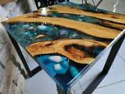 Walnut Clear Epoxy Table Dining Table Top Luxury Shine Home Decor Made To Order