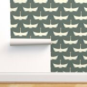 Removable Water-activated Wallpaper Whooping Crane Farrow And Ball Green Smoke
