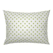 Half Inch Polka Dot Green White Cottage House Pillow Sham By Roostery