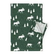 Moose Elk Christmas Forest Hunter Linen Cotton Tea Towels By Roostery Set Of 2