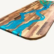 Walnut Wooden Resin River Epoxy Dining Top Table Custom Decor Made To Order