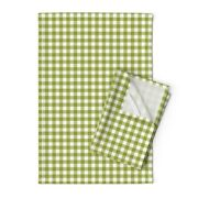 Green White Gingham Cottage House Linen Cotton Tea Towels By Roostery Set Of 2