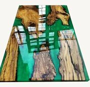 Custom Epoxy Resin Live Edge Rustic End Dining Table Premium Quality Large Table