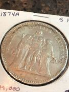 Sasa 1874 A French 5 Francs France 5 Francs Silver World Foreign Silver Coin