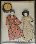 2 Antique 1800's German China Head Doll Hand Feet Dress With Accessories In Box