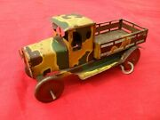 Tinplate Clockwork Army Lorry 1920s  Mettoy Tri=ang  Wells Brimtoy