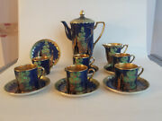 Crown Devon Art Deco Lustre Emamel And Gilded And039fantasiaand039 Coffee Set For 6 -sugar