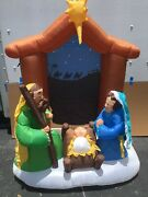 Christmas Gemmy Holiday Living 6.5 Ft Nativity Scene Airblown Inflatable