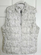 White House Black Market L 12 Or Xl Ivory Gray Beige Embroidered Quilted Vest