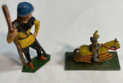 Vintage Miniature Cast Iron Lead Figures Knight And Horse And Herder