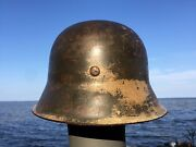 Rare Ww2 German M42 Helmet Former North African Campaign Camo Liner And Chinstrap